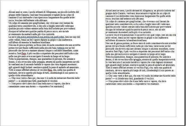 Un confronto di una cartella aperta su Word e su OpenOffice